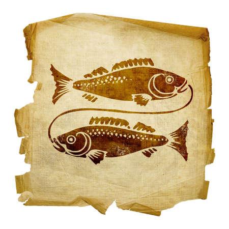 pisces star: Pisces zodiac icon, isolated on white background. Stock Photo