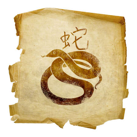 snake calligraphy: Snake Zodiac icon, isolated on white background. Stock Photo