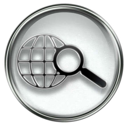 search and magnifier icon grey, isolated on white background.