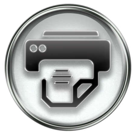 printer icon grey, isolated on white background. photo