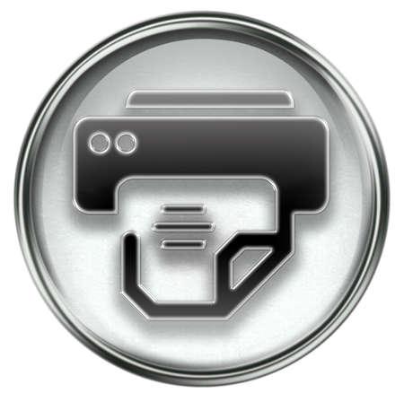 peripherals: printer icon grey, isolated on white background.