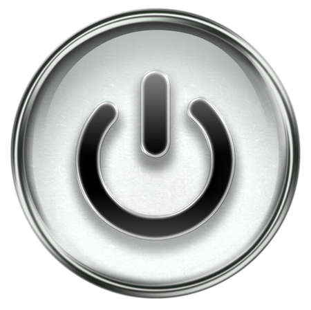 power button grey, isolated on white background. Stock Photo - 3374243