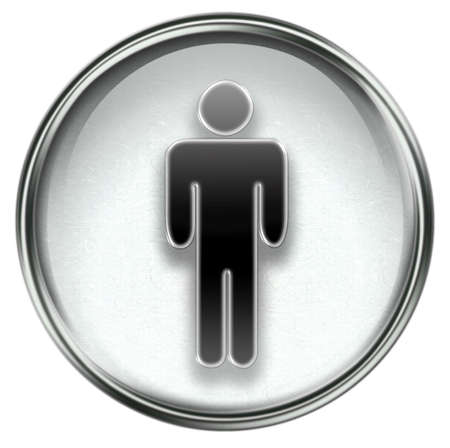 watercloset: men icon grey, isolated on white background.