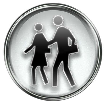 people icon grey, isolated on white background Stock Photo - 3387039