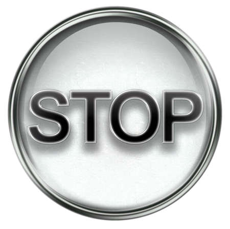 Stop icon grey, isolated on white background Stock Photo - 3387051