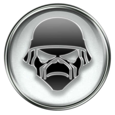 military press: Army button grey, isolated on white background