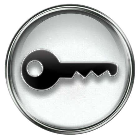Key icon grey, isolated on white background Stock Photo - 3387044