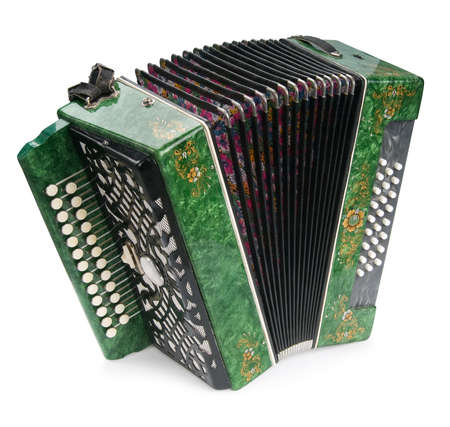 Green Accordion, isolated on white background Reklamní fotografie
