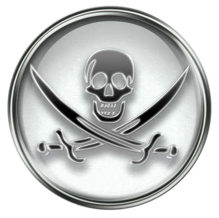 Pirate icon grey, isolated on white background. Stock Photo