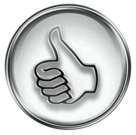 great deal: thumb up icon grey, approval Hand Gesture, isolated on white background. Stock Photo