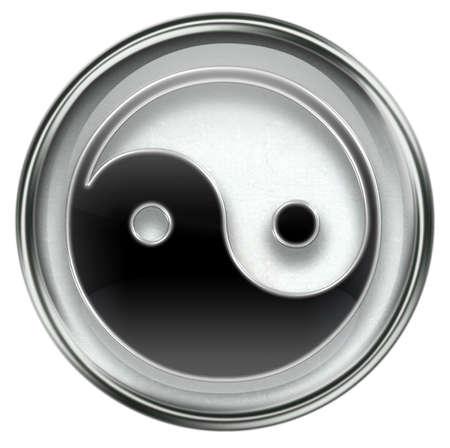 yantra: yin yang symbol icon grey, isolated on white background.