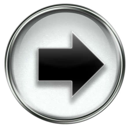upward movements: Arrow right icon grey, isolated on white background.