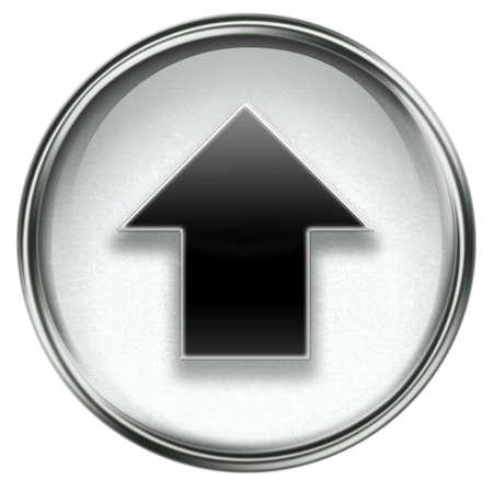Arrow up icon grey, isolated on white background. photo