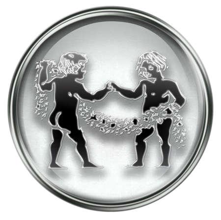 Gemini zodiac button icon, isolated on white background. Stock Photo