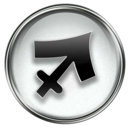 Sagittarius zodiac button icon, isolated on white background. photo