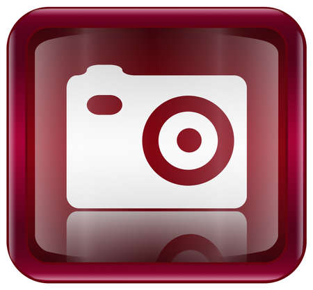 Camera icon red, isolated on white background photo