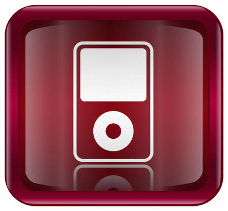 mp3 player red, isolated on white background photo