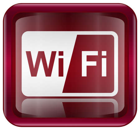 wep: WI-FI icon red, isolated on white background