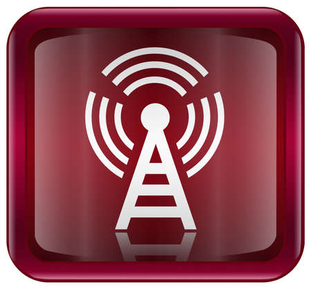 WI-FI tower icon red, isolated on white background Stock Photo - 4380340