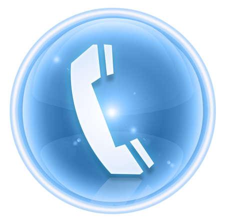 phone icon ice, isolated on white background. Stock Photo
