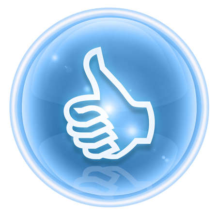 thumb up icon ice, approval Hand Gesture, isolated on white background. Stock Photo - 4582783