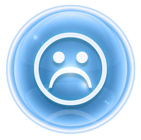 Smiley icon dissatisfied ice, isolated on white background. photo