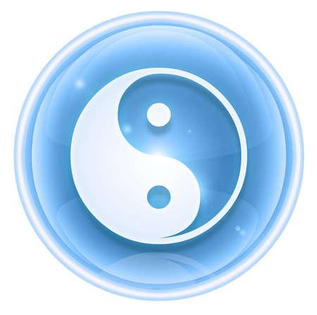yin yang symbol icon ice, isolated on white background. photo
