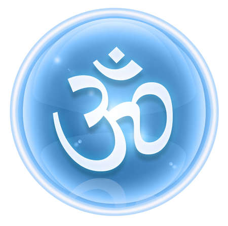 sacred symbol: Om Symbol icon ice, isolated on white background. Stock Photo