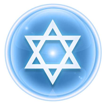 David star icon ice, isolated on white background.