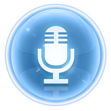 Microphone icon ice, isolated on white background photo