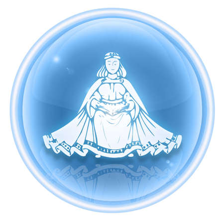 Virgo zodiac icon ice, isolated on white background. photo