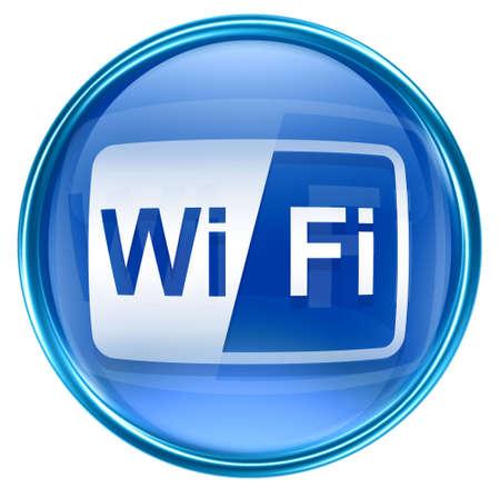 wep: WI-FI icon blue, isolated on white background Stock Photo