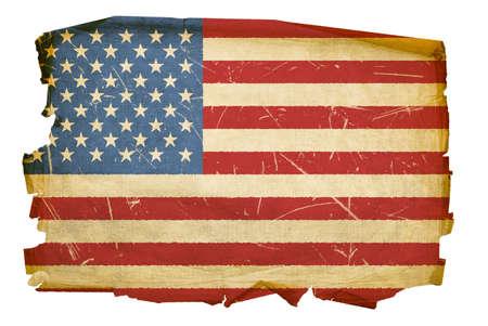 United States Flag alt, isoliert auf weißem Hintergrund Standard-Bild