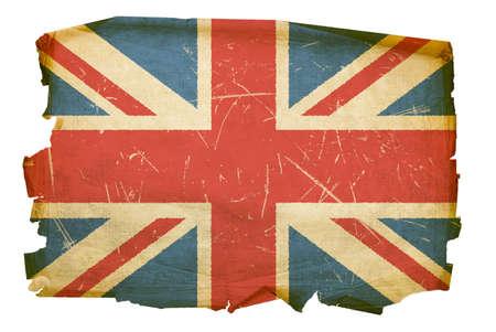 bandera inglaterra: Bandera del Reino Unido antiguo, aislado sobre fondo blanco Foto de archivo