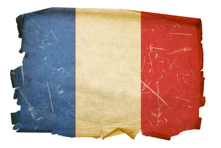 France Flag old, isolated on white background.