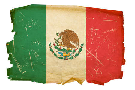 mexico culture: Mexico Flag old, isolated on white background.