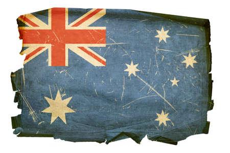 Australia Flag old, isolated on white background. Stock Photo