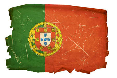Portugal Flag old, isolated on white background. photo