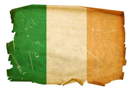 Ireland Flag old, isolated on white background. photo