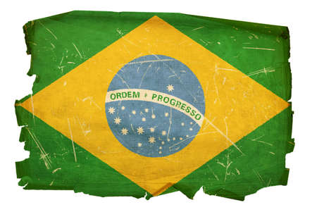 battered: Brazil Flag old, isolated on white background