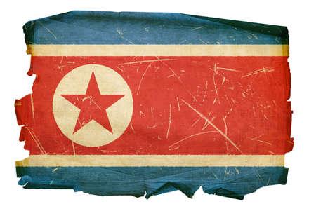 battered: Northern Korea Flag old, isolated on white background. Stock Photo