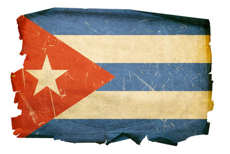 cuban culture: Cuba Flag old, isolated on white background.