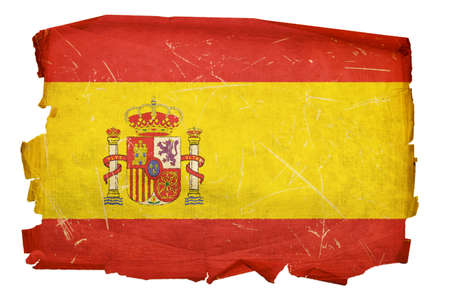 spanish culture: Spain Flag old, isolated on white background Stock Photo