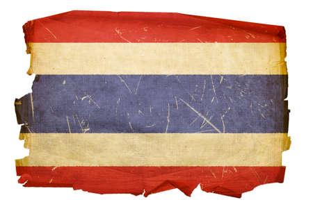 Thailand Flag old, isolated on white background Stock Photo - 5416730