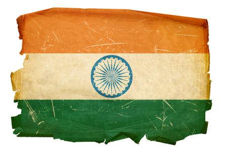 India Flag old, isolated on white background Stock Photo
