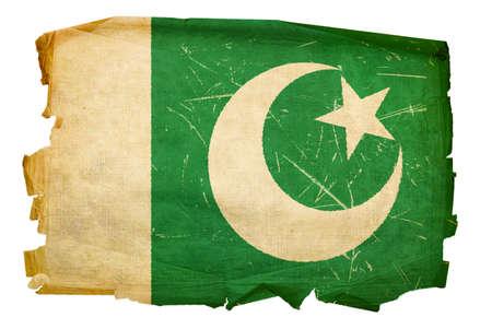 islamabad: Pakistan Flag old, isolated on white background.