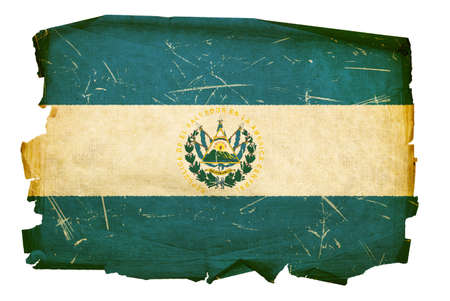 El Salvador Flag old, isolated on white background. photo