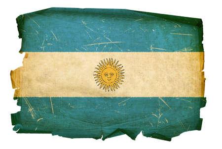 argentinian flag: Argentina Flag old, isolated on white background. Stock Photo
