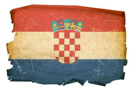 zagreb: Croatia Flag old, isolated on white background.