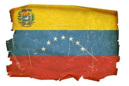 venezuela: Venezuela Flag old, isolated on white background. Stock Photo